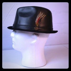 Goorin Brothers Men's Porkpie Leather Fedora Hat